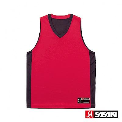 SASAKI 雙面穿長效性吸排V領籃球背心-男-紅/黑