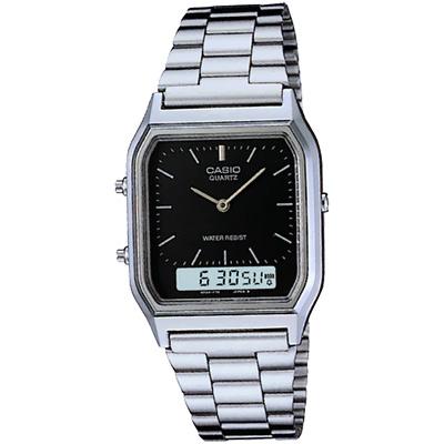 CASIO 銀色時尚復古雙顯指針錶-黑/29.5mm