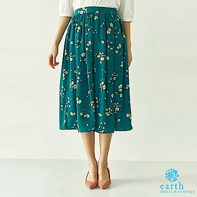earth music 花柄圖案打摺膝下中長裙