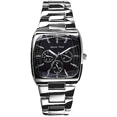 RELAX TIME 簡約方型時尚日曆手錶-黑x銀/38mm