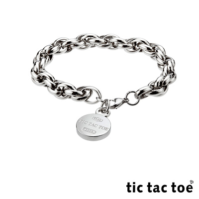 tic tac toe 王者之風白鋼男手鍊-圓牌