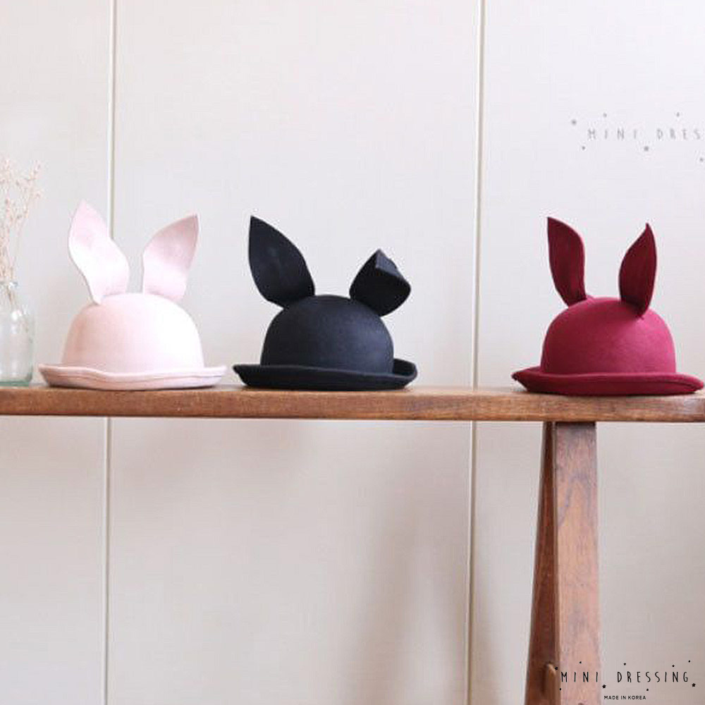 韓國 Mini dressing 羊毛兔耳朵紳士帽
