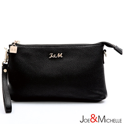 J-M-真皮莉緹亞mini手拿斜背包-時尚黑