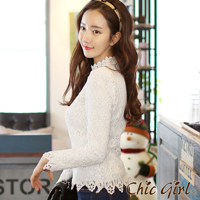 正韓-花邊小立領古董蕾絲風襯衫-白色-Chic-G