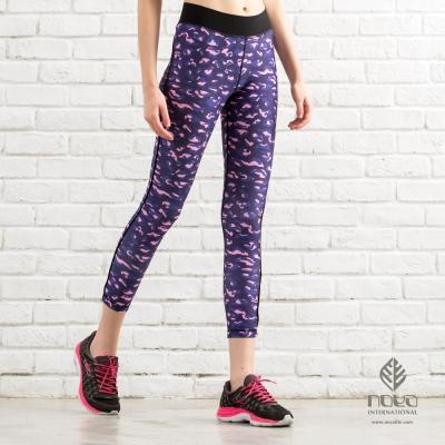 NOYA-女時尚印花瑜伽健身顯瘦運動緊身褲-深靛藍