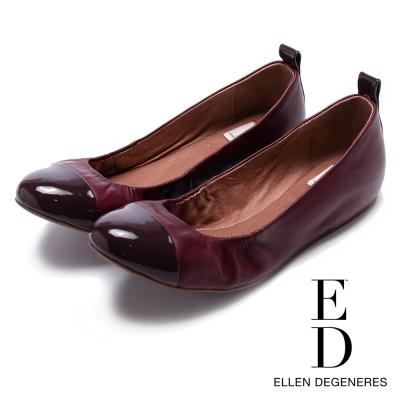 ED Ellen DeGeneres 真皮亮面鞋頭百搭平底鞋-酒紅