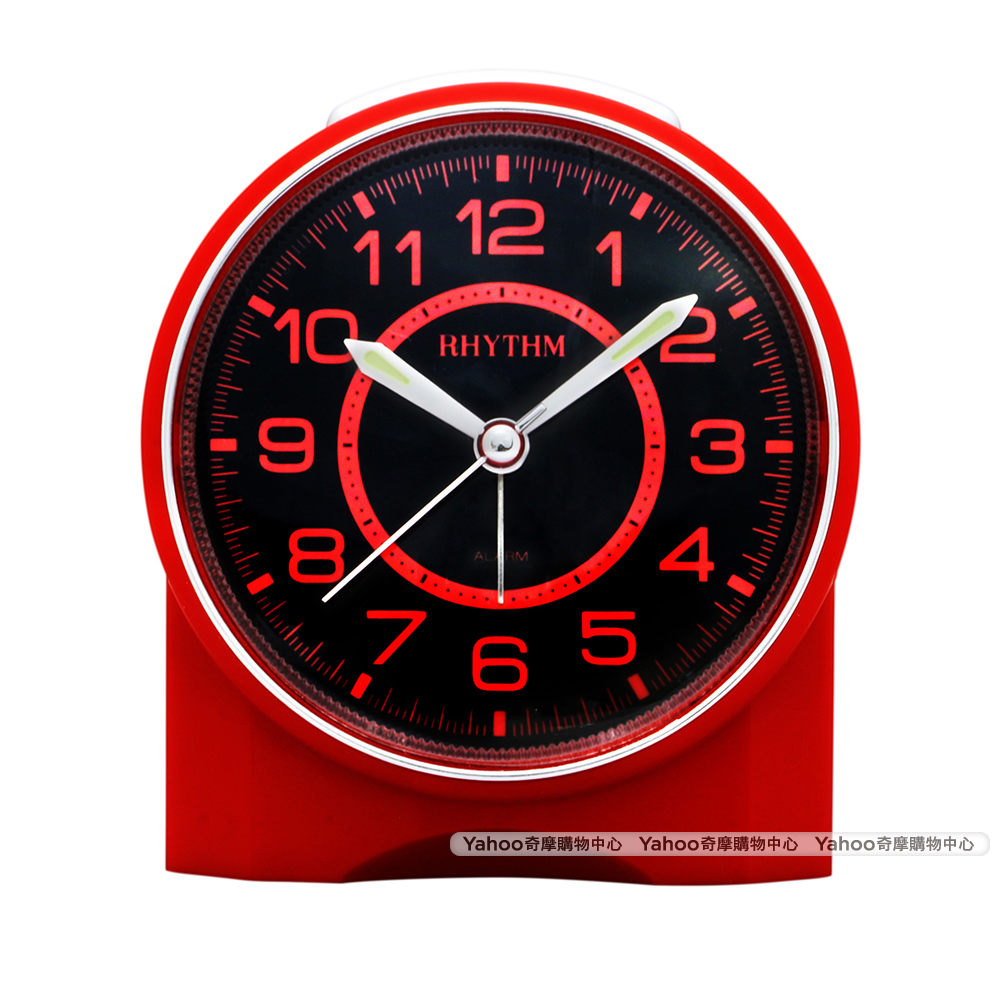 RHYTHM日本麗聲 都市美學夜光面板鬧鐘-石榴紅/10cm