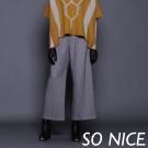 SO NICE質感條紋打摺修飾寬管褲