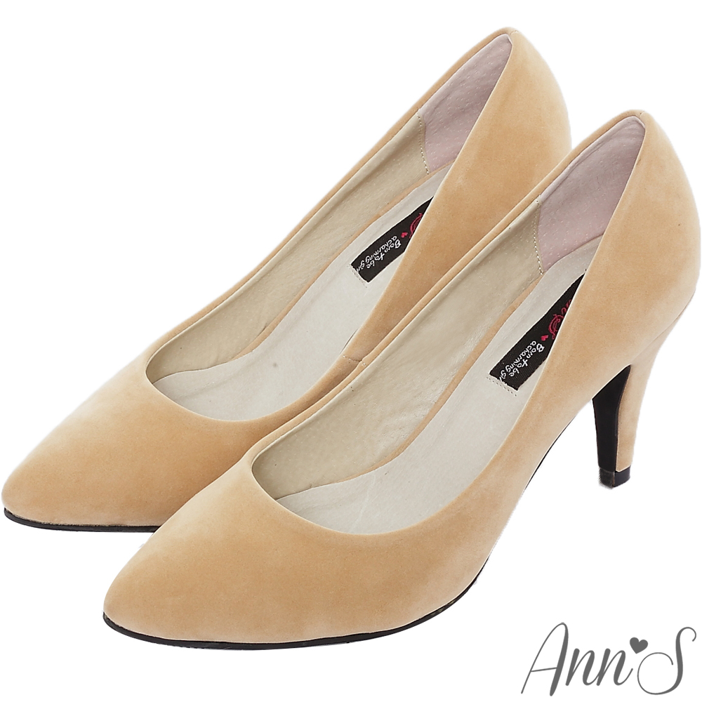 Ann'S氣質名媛細絨素面尖頭跟鞋-杏