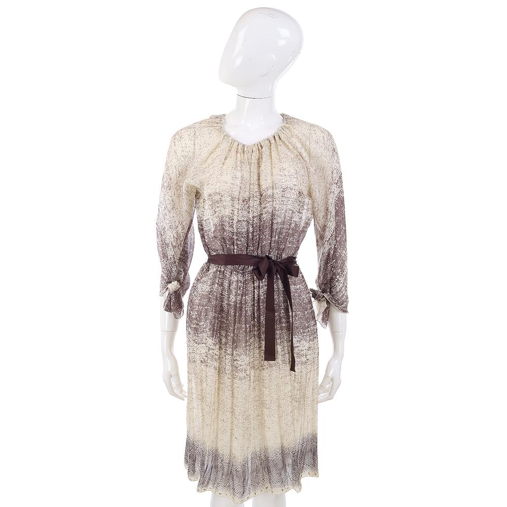PHILOSOPHY-AF 米/咖啡色漸層點點圖紋綁帶洋裝
