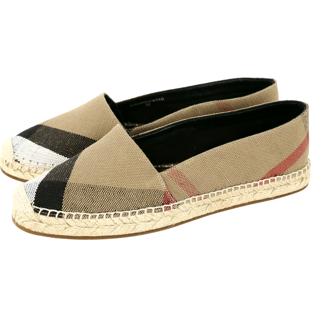BURBERRY Canvas 格紋麻織草編鞋(女鞋/卡其色)