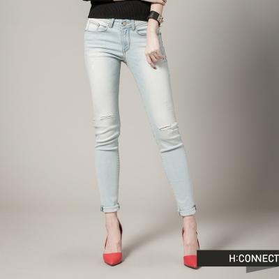 H-CONNECT-韓國品牌-女裝-刷白破壞感丹寧褲-淺藍