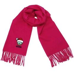 MOSCHINO帥氣滑雪熊字母LOGO刺繡義大利製羊毛披肩/圍巾(桃紅)