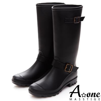 A one 經典雙皮帶釦長筒雨鞋雨靴-黑色