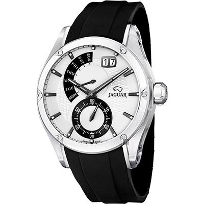 JAGUAR Special Edition 星期小秒針手錶-白x黑/44mm