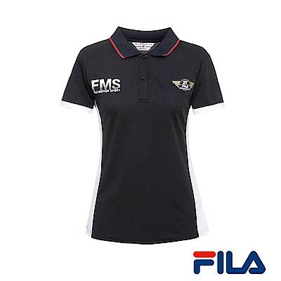 FILA女性賽車風情POLO衫(競速黑)5POR-1467-BK