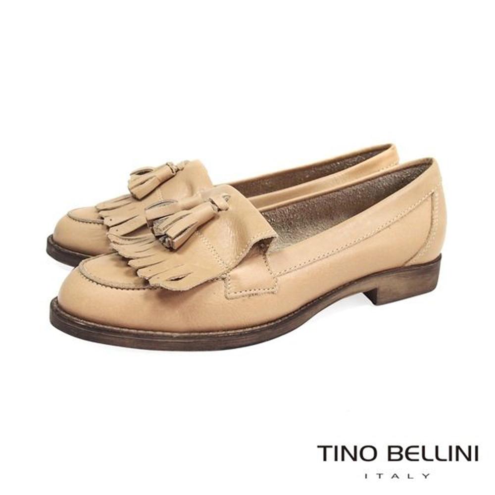 Tino Bellini 義大利進口雙層流蘇樂福鞋_杏