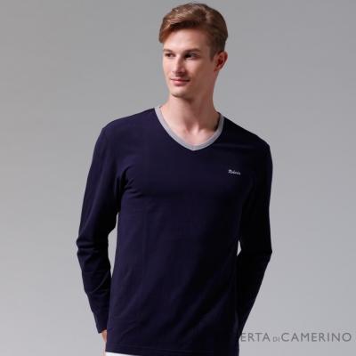 ROBERTA諾貝達 台灣製 柔軟保暖 時尚百搭長袖POLO棉衫 深藍