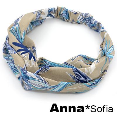 AnnaSofia 椰樹疊影交叉結 彈性寬髮帶(米駝底系) @ Y!購物