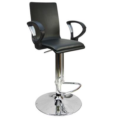 Design 優雅和風曲木扶手高腳吧皮革事務椅/電腦椅/吧台椅(三色)