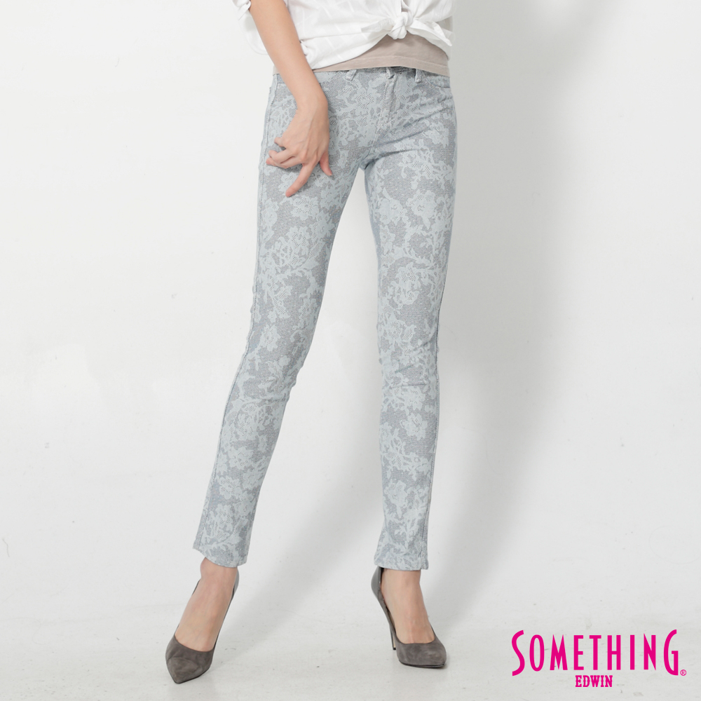 SOMETHING LADIVA幾何花卉合身牛仔褲-女-重漂藍