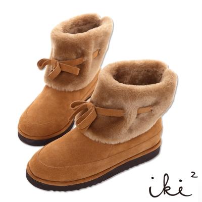 iki2雪靴 真皮可愛蝴蝶結毛毛反折雪靴-淺咖