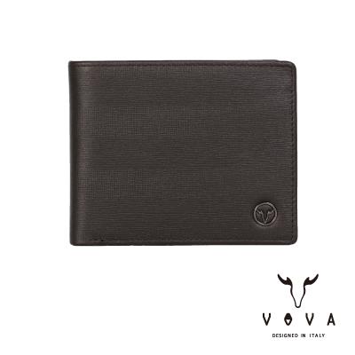 VOVA - SEAL印璽系列9卡中間翻透明窗AI紋皮夾 - 咖啡色