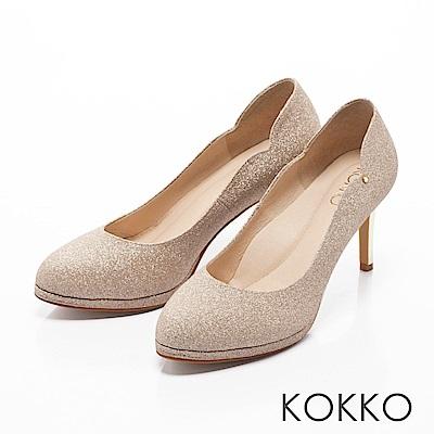 KOKKO - 絕美風姿鑽飾曲線優雅高跟鞋-閃耀金