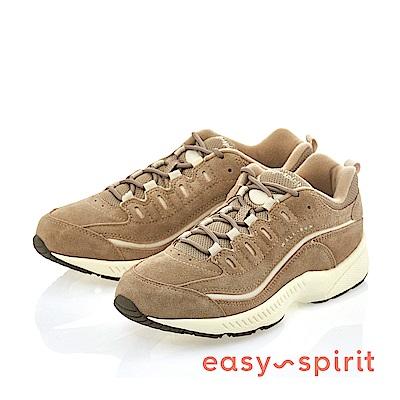 Easy Spirit--樂活運動風輕盈繫帶休閒走路鞋-卡其色