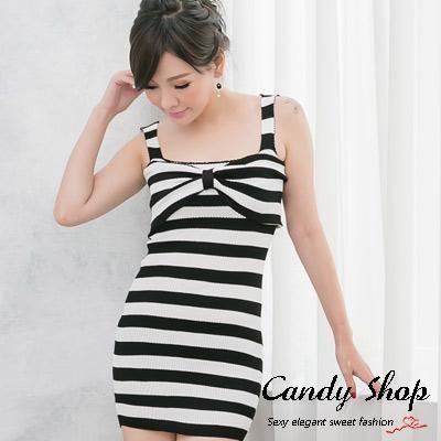 Candy小舖-新品特色款-蝴蝶結針織細肩帶包臀洋裝-條紋