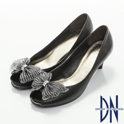 DN-優雅氣質-蕾絲蝴蝶結鑲鑽魚口高跟鞋-黑