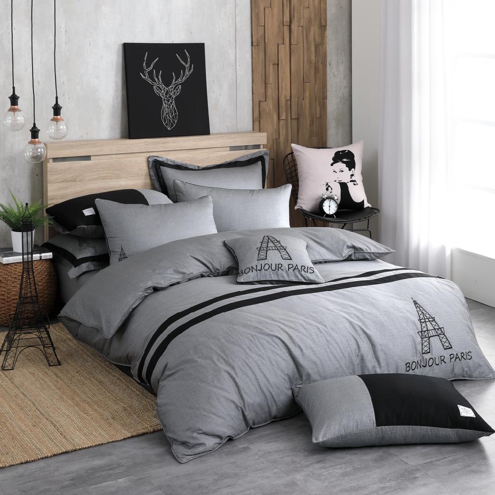 OLIVIA  奧斯汀 深灰 雙人床包枕套三件組 設計師原創系列