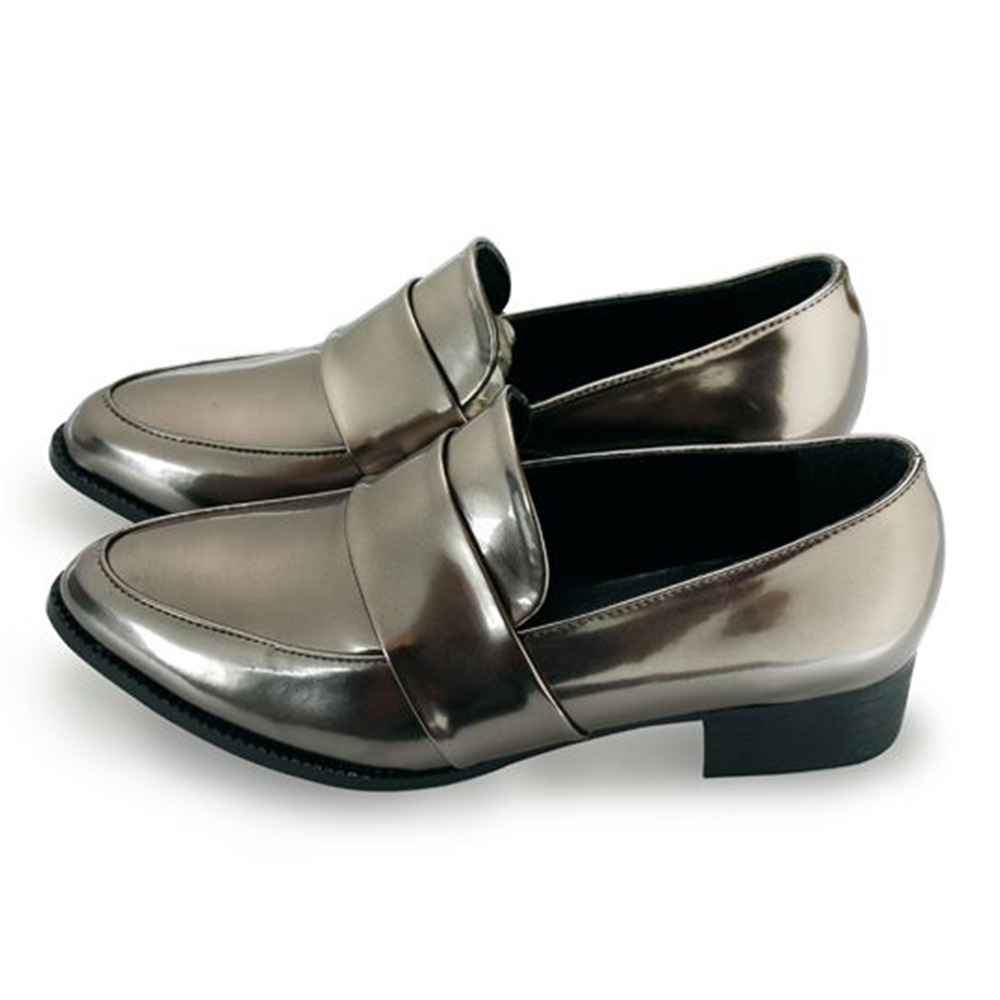 FUFA  MIT金屬感漆皮尖頭粗跟樂福鞋 (FB11) 錫色