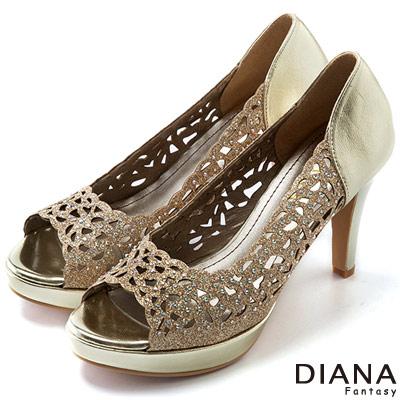 DIANA-上流風潮-雷射雕刻簍空水鑽魚口跟鞋-金