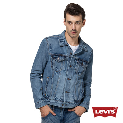 Levis-純棉水洗牛仔機車外套-男