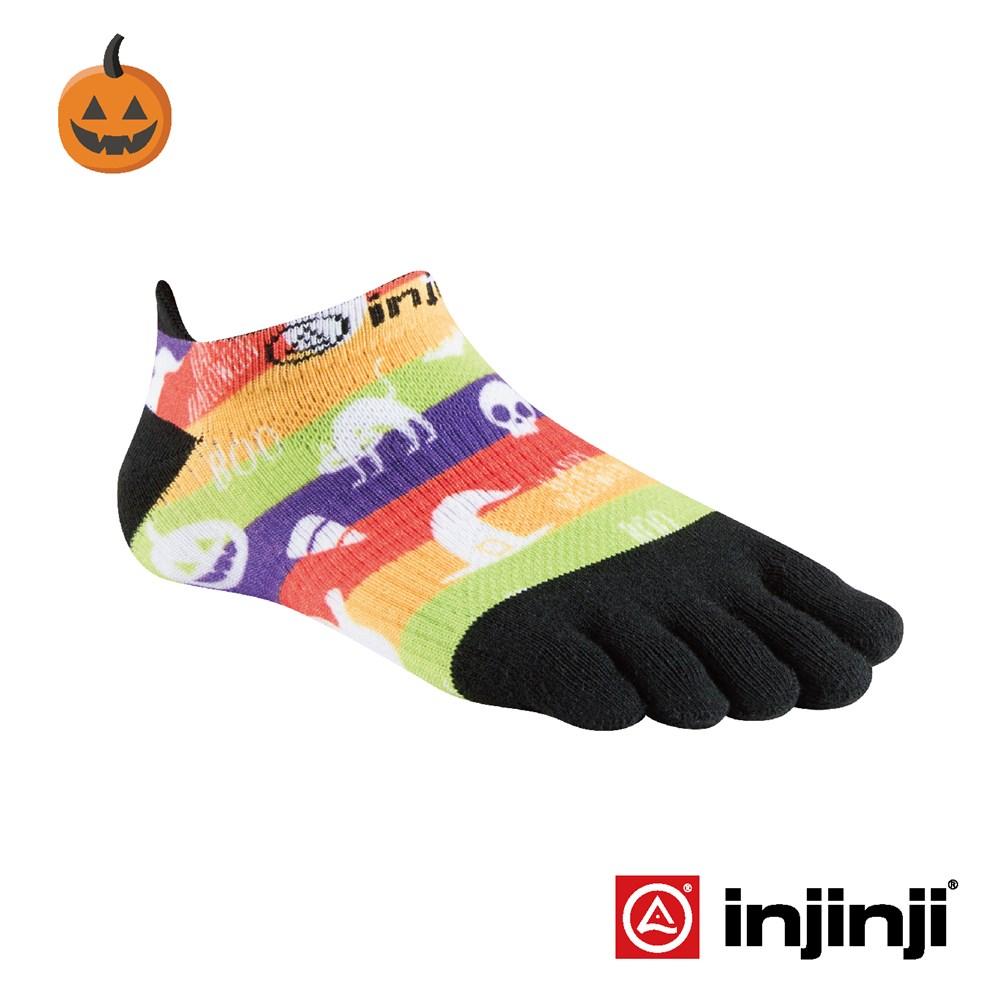 【Injinji】RUN女性輕量吸排五趾隱形襪-彩條圖騰