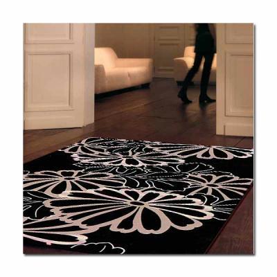 范登伯格 - 荷莉 進口地毯 - 花描 (黑) (中款 - 140 x 200cm)