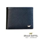 BRAUN BUFFEL - HOMME-B紳士系列12卡透明窗右上翻皮夾 - 藍色