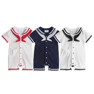 baby童衣 前開釦海軍風短袖連身衣 32011