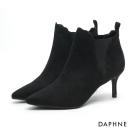 達芙妮DAPHNE 踝靴-波浪花邊絨面尖頭中跟踝靴-黑