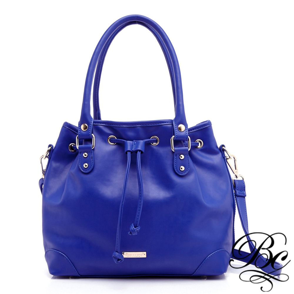 BELLUCY 歐美風時尚束口兩用水桶包(寶石藍)