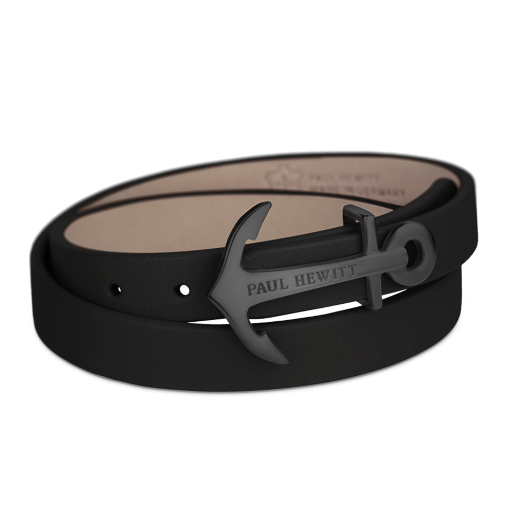 PAUL HEWITT 德國出品 NORTH BOUND 黑色皮革 黑色船錨 寬版手環