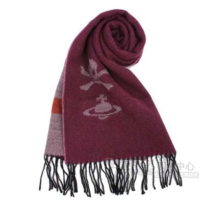 Vivienne Westwood 骷髏行星素面羊毛圍巾-紫紅