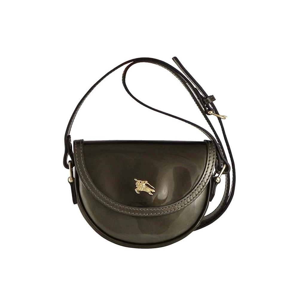 BURBERRY 英國倫敦戰馬古銅色亮面皮革斜背包