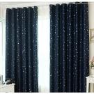 布安於室-星晨單層雙用落地窗簾-深藍-寬130x高220cm