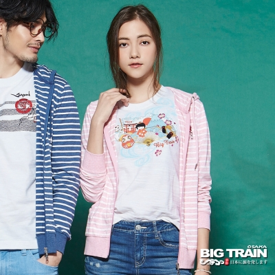 BIG TRAIN 女版條紋連帽外套-女-粉紅條