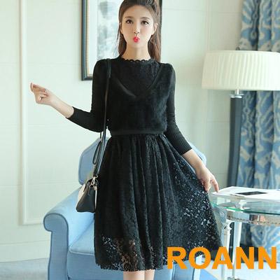 圓領加絨蕾絲假兩件連衣裙 (共二色)-ROANN