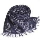 ARMANI JEANS 字母AJ LOGO高質感羊毛混棉質造型圍巾(灰/藍格)