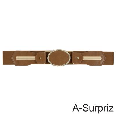 A-Surpriz 橢圓晶鑽扣環彈性腰帶(淺咖)