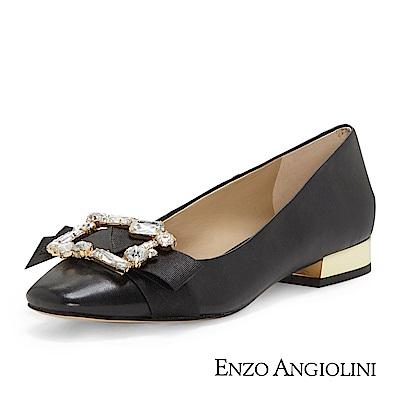 ENZO ANGIOLINI--鑽飾方頭低跟鞋-優雅黑